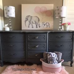 Grey and pink nursery. French Provincial Dresser. Chalk painted Dresser. Elephant themed baby nursery