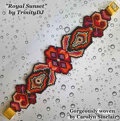 - Royal Sunset - Peyote Stitch Beadwork Pattern, seed bead jewelry,beadweaving t Embroidery Floss Bracelets, Bead Embroidery Patterns, Peyote Stitch Patterns, Embroidery Shop, Embroidery Alphabet, Bead Loom Patterns, Beaded Jewelry Patterns, Bracelet Patterns, Beaded Embroidery