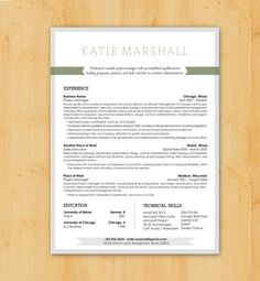 Resume Writing / Resume Design: Custom Resume Writing & Design Service - Modern Design - The Katie Marshall