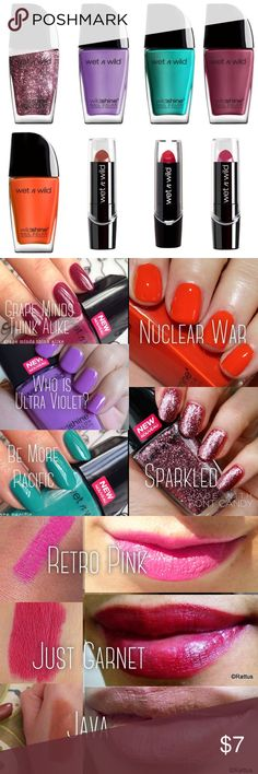 Wet n' Wild Lipstick & Nail Polish Beauty Bundle Wild Shine Nail Color (5) .41 fl oz bottles Who is Ultra Violet Be More Pacific Grape Minds Think Alike Nuclear War Sparkled (pink and silver glitter rounds) Silk Finish Lipstick (3) .13 oz Just Garnet Java What's Up, Doc? Makeup