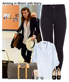 """""""Arriving in Miami with Harry"""" by lovetini6412 ❤ liked on Polyvore featuring Pieces, MANGO, Louis Vuitton, NARS Cosmetics, Giuseppe Zanotti, Ray-Ban and modern"""