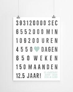 jubileum huwelijk trouwposter met naam en datum - Gepersonaliseerde trouwposter. Online posters maken met eigen tekst in zwart-wit of kleur (o.a mint en oker-geel)