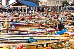 Soumbedioune fish market in Dakar, Senegal.