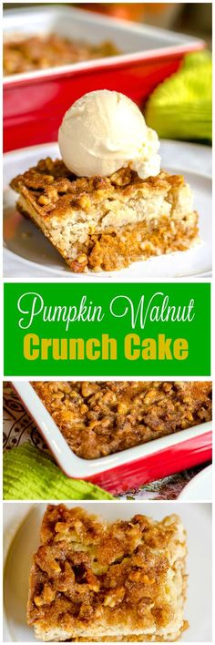 "This sweet, creamy, crunchy Pumpkin Walnut Crunch Cake is similar to other Pumpkin Crunch Cake desserts but uses walnuts instead of pecans, and a homemade ""cake mix"" instead of a packaged cake mix, and includes a sprinkling of cinnamon sugar on top. Serve warm with ice cream for a crowd-pleasing Fall or Thanksgiving dessert! via @flavormosaic"