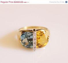 Vintage 14k Gold Blue Topaz citrine and by orlysvintageplace, $297.00
