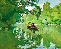 ALBERT MARQUET (1875-1947) La Varenne, bords de Marne, pêcheurs en barque. CLICK to enlarge