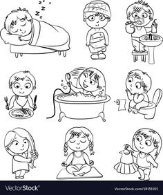 Health and hygiene. Baby girl after the shower in a bathrobe and towel, taking a bath, brushing her Routine Chart, Speech Language Therapy, Memory Books, Baby Play, Elementary Art, Learning Activities, Little Boys, Planer, Art For Kids