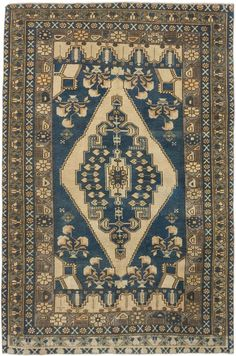 Hand-knotted Anatolian Vintage Olive, Turquoise Wool Rug