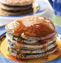 Rancho de Chimayo' recipe for blue corn pancakes~!  WANT their new cookbook~!!!  Tasting NM - New Mexico Magazine