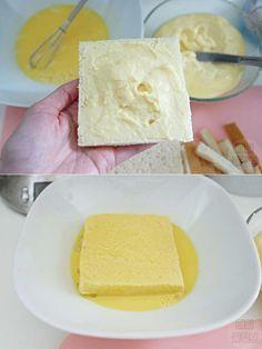 커스터드 크림이 잔뜩! 감동의 프렌치 토스트 만들기 New Menu, Bread Cake, Bakery, Cheese, Cookies, Recipes, Food, Crack Crackers, Biscuits
