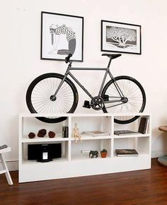 Amazing space-saving homemade bike storage ideas for small room and apartments. These indoor bike storage solutions are for pedal pushers who can't part with their bike. Indoor Bike Rack, Indoor Bike Storage, Bicycle Storage, Bike Storage Flat, Bike Storage Apartment, Bike Storage For Small Apartments, Apartment Ideas, Modern Furniture, Furniture Design