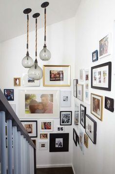 gallery art wall on stairwell