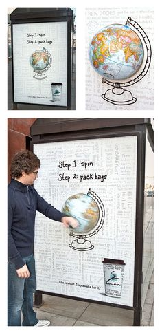 Agency: Colle+McVoy  Advertiser: Caribou Coffee  Title: Travel Globe