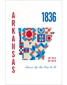 The Arkansas Map Print combines the year of statehood and coordinates for the city's capital - Little Rock, with a silhouette of the state of Arkansas filled with pattern inspired by Mountain View qui Fab Life, Arkansas Razorbacks, Little Rock, Where The Heart Is, Mountain View, Cool Kids, House Warming, Red And White, Wall Decor
