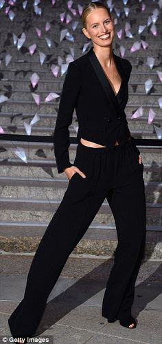8ec73bf56b2 Androgynous chic  Model Karolina Kurkova wore a black pant suit Black Suit  Dress