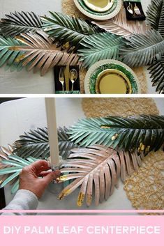 Create your own palm leaf centerpiece complete with gold leafing! This centerpiece makes for a great table runner at a modern tropical or jungle themed party. See how Dawn from Party Til Dawn made this simple centerpiece. Jungle Centerpieces, Tropical Centerpieces, Tropical Party Decorations, Simple Centerpieces, Tropical Decor, Centerpiece Decorations, Modern Tropical, Hawaiian Wedding Themes, Decoration Evenementielle