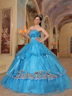 QDZY447 Formal Baby Blue Quinceanera Dress Strapless Bows Sequins and Organza Ball Gown  http://www.fashionos.com/  custom made sweet 15 dress | elegant sweet 16 gowns | quinceanera prom ball gown | ball gown quinceanera dress | quinceanera dress for wholesale | hot sale sexy quince dress | puffy quinceanera dress | discount and chea p quinceanera dress | quinceanera dress with free shipping | popular quinceanera gown | unique sweet 16 dress | quinceanera dress for sale
