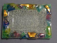 """Murano Italy Art Glass Small rectangle Dish  4"""" x 3"""" ring jewelry dish gold #Murano"""