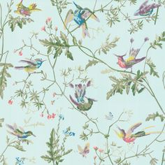 Add a splash of colour to your interior with this Hummingbirds wallpaper from Cole & Son. Part of the Archive Anthology collection it features colourful hummingbirds fluttering against a simple backgr