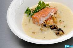 Joshua Valentine's Roasted Garlic Sourdough Soup with Sockeye Salmon & Black Olive Croutons