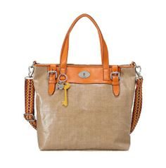 2b407c7da19b Amazon.com  Womans leather Handbags BAG W VINTAGE KEYPER JUTE TOTE ORANGE  ZB5159810 Fossil