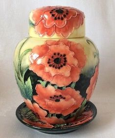 1cb1b2369 Country Artists Ceramic Urn Lid & Saucer Willow Hill 3D Orange Poppies  Signed MP