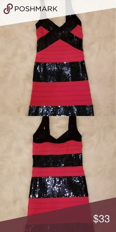 Coral/Navy Blue Sequin Bandage Dress ONLY WORN ONCE!! Coral/Navy Blue Sequin Bandage Dress Dresses Mini