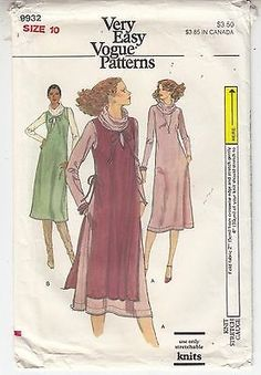 Vogue Dress Top Jumper Pull Over Close Fit Stretch Knits Sewing Pattern Sz 10