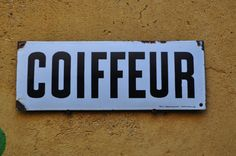 N- 91 : French antique enamelled sign-boards from an hairdresser « Coiffeur » (hairdresser).