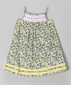 Look at this Green & Yellow Floral Swing Dress - Infant, Toddler & Girls on #zulily today!