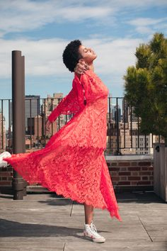 Model Ebonee Davis Talks Racism and Representation in Fashion: It was our absolute pleasure to spend an afternoon with her, dressing her in the colors of the season, and hearing all about what makes Ebonee, Ebonee. -- Red lace dress and sneakers. | Coveteur.com