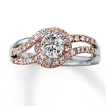 7/8 ct tw Diamond Ring Round-Cut 14K Two-Tone Gold (Rose Gold) and up the center stone to at least 1 ct