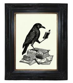 Halloween Raven Crow reading a Book - Victorian Steampunk art print