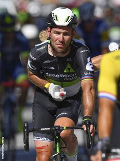 Mark Cavendish is on his way to the hospital after tangling with the barriers at Stage 4 TDF2017 Pic:CorVos