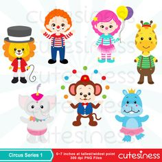 Circus Digital Clipart Circus Animal Clipart Animal by Cutesiness