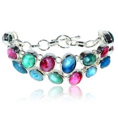 Attractive Silver and Mixed Rose Emerald Sapphire Stone Inlaid Bracelet Bangle Hand Chain Wrist Ornament for Female Woman (TX-0019BR)