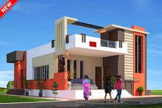House Main Gates Design, Duplex House Design, House Front Design, Small House Design, Modern House Design, Front Elevation Designs, House Elevation, Bungalow, 2bhk House Plan