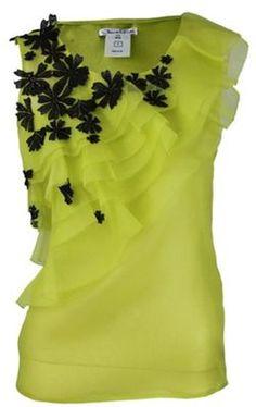 Oscar De La Renta Sleeveless Tier Organza Flower Blouse in Green (chartreu) Look Fashion, Womens Fashion, Fashion Design, Mode Top, Creation Couture, Inspiration Mode, Blouse And Skirt, Dress Patterns, Blouse Designs