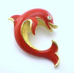 Vintage Enamel Dolphin Brooch  Trifari Designer by paleorama, #nautical #dolphin #vintage #enamel  #jewelry #trifari #designer