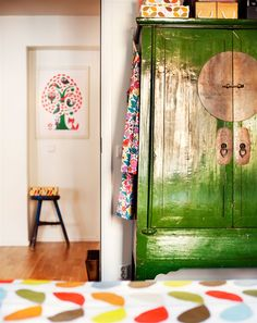 green painted armoire