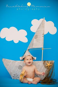Baby photographer, baby boy photos idea, 6mo old baby boy  newspaper boat, little sailor photo ideas