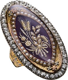 ALBION ART  Historical Jewelry - Ancient Gold, silver, diamond, pearl, enamel ring, ca. 1770, Private Collection.