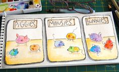 elvie studio: draw piggies,bunnes, mousies and chicks from a watercolor blob