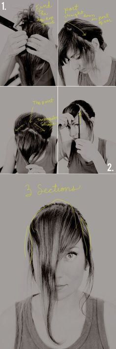 Sep 2015 - Change your look instantly- how to cut your own thick bangs. This easy how to cut your own thick bangs tutorial is all you need to freshen up your look! Hairstyles With Bangs, Diy Hairstyles, Pretty Hairstyles, Bangs Tutorial, Thick Bangs, Get Thicker Hair, How To Cut Bangs, How To Cut Fringe, Diy Haircut