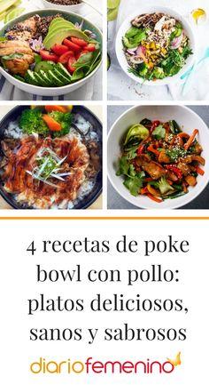 Poke bowls coloridos, nutritivos y de lo más apetecibles 😋 #pokebowlrecipes #pokebowlconpollo #recetasdepokebowl #recetas #recipes #recetasconpollo#DiarioFemenino
