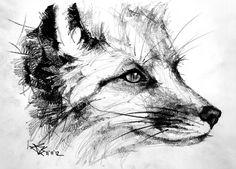 Realistic Pencil Drawings, Pencil Drawing Tutorials, Love Drawings, Art Drawings, Animal Sketches, Animal Drawings, Fox Sketch, Fuchs Tattoo, Fox Tattoo Design