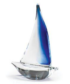 Blue Glass Sailboat Décor