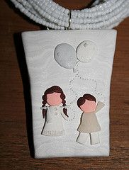"Collar con Dije Nios con Globos Blanco (""creativARTE: Detalles en plastilina"") Tags: fimo clay plastilina polyner creativarte"