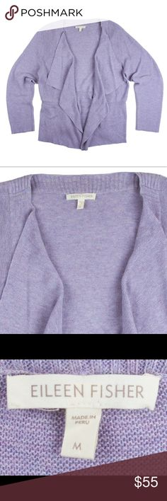 "EILEEN FISHER Organic Cotton Cardigan Sweater Absolutely excellent condition! This lavender organic cotton Cardigan from EILEEN FISHER features an open front drapey style. Made of 100% organic cotton. Measures: bust: 40"", total length: 27"", sleeves: 24"" Eileen Fisher Sweaters Cardigans"