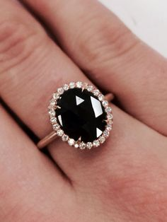 Vintage inspired black diamond ring STUNNING
